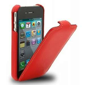 Stone Leather Case for Apple iPhone 4G 16GB/32GB   Verizon   Fox Red