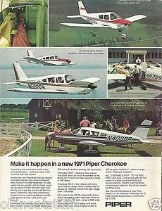 1971 Piper Cherokee FULL COLOR Aircraft ad 11/28/11