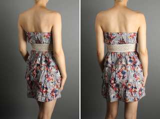 MOGAN Floral Print Ruffle Tiered Belted Tube Dress