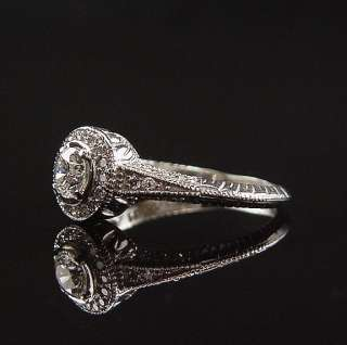 Romantic Estate Engraved 14K White Gold Halo .70 Ct Diamond Engagement