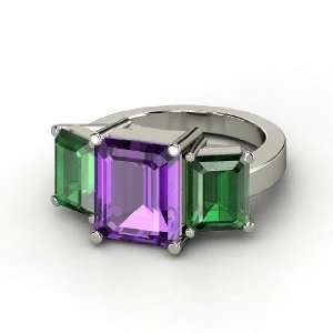 Ring, Emerald Cut Amethyst 14K White Gold Ring with Emerald Jewelry