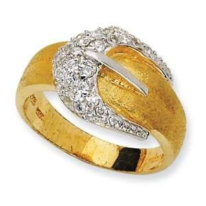 Gold plated Sterling Silver Satin Belt CZ Ring   Size 8