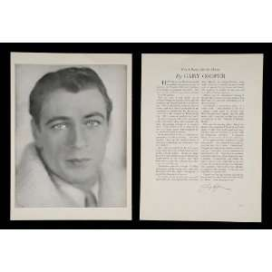 1930 Gary Cooper Actor Movie Silent Film Star Print   Original Print