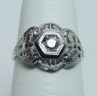 Antique 18K White Gold European Diamond Ruby Ring Estate Jewelry