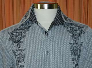 LONG SLEEVE GRAY BLACK EMBROIDERED BUTTON DOWN SHIRT MENS SMALL