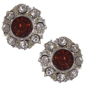 Maureen Silver Amber Crystal Clip On Earrings Jewelry