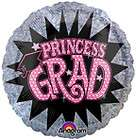 PRINCESS Grad Polka Dots Pink Zebra Stripes GRADUATION Party Mylar