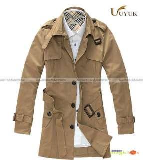 2012 Men Stylish Slim Single Breasted Long Trench Coat Jacket New