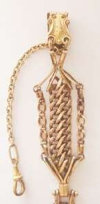 VERY FANCY ANTIQUE VICTORIAN GOLD FILLED POCKET WATCH VEST CHAIN FOB