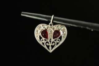 Vintage Sterling Silver Jewelry Red Rhinestone Heart Necklace Pendant