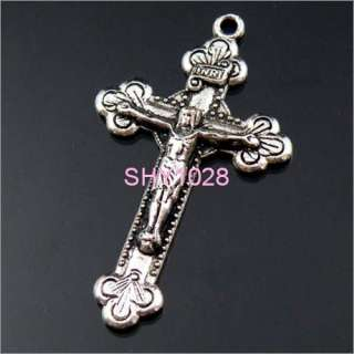 handling 6pcs tibetan silver cross pendants 28x48mm 181a