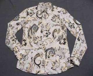 Metallic Paisley Floral Etro Blouse White Shirt 44 Top