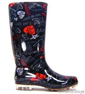 NIB New Coach Poppy Pixy Signature Heart Rainboots Rubber Rain Boots