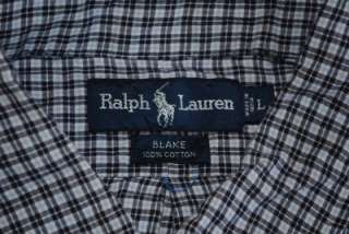 POLO RALPH LAUREN BLUE PLAID OXFORD DRESS SHIRT LARGE