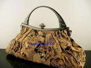 SATIN & BEADED ROSES EVENING PURSE TOTE PROM BAG
