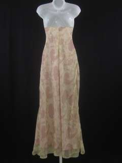 CREW Pink Beige Floral Print Sleeveless Silk Dress 8