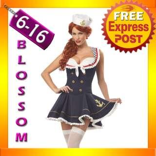 F96 Navy Sailor Girl Uniform Ladies Rockabilly Pin Up Fancy Dress