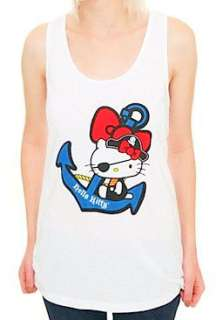 HELLO KITTY~ WHITE PIRATE EYE PATCH ANCHOR RACERBACK LOUNGE TANK TOP