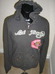 GREAT ED HARDY ZIP HOODIE SZ SMALL RHINESTONES