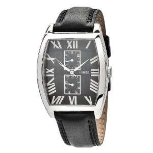 GUESS Mens W85066G1 Tonneau Case Black Leather Strap Watch Guess