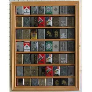 56 Zippo Lighter Display Case Cabinet Holder Wall Rack