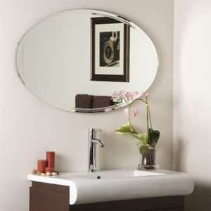 Oval Beveled Edge Classic Simple Frameless Wall Mirror