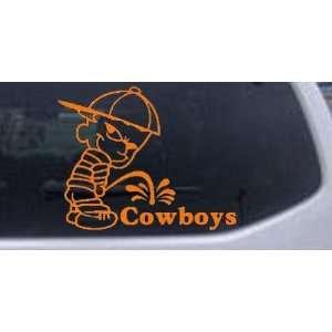 Pee On Cowboys Car Window Wall Laptop Decal Sticker    Orange 12in X 9