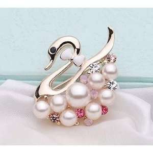 Swan and Pearl Pink and White Rhinestone Crystal Brooch