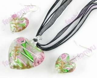 24Sets Colorful Lampwork Glass Heart Necklace Earrings1