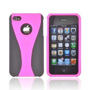 For Apple iPhone 4S 4 Hot Pink Black Rubberized Hard