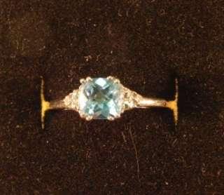 Aquamarine Blue Topaz and Diamonds 14K Gold Ring size 6 3/4 2.0g (199