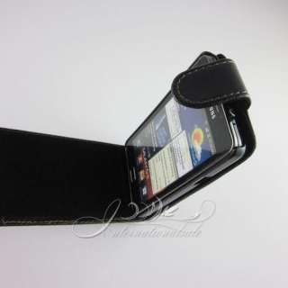 Black color leather flip case for Samsung Galaxy S II i9100 /T01