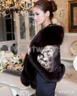Women Real Fox Fur Collar + Mink Warm Coat / Shawl/ / Cape P17
