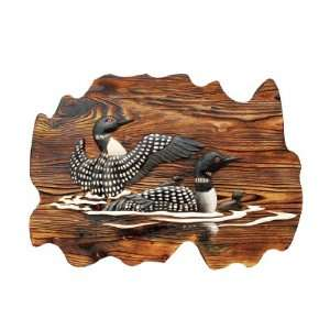 Loon Family in Lake Wood Art