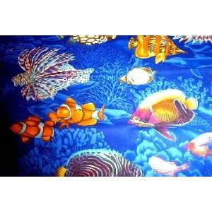 NEW TOILET SEAT LID COVER MADE FROM BLUE OCEAN FISH FABRIC