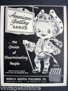 1948 Vintage AMERICAN GREETING CARDS Colonial 40s Ad