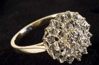 FANTASTIC 9ct SOLID GOLD (25) NATURAL VS DIAMOND CLUSTER RING SIZE P