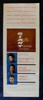GIANT * ORIG MOVIE POSTER INSERT JAMES DEAN 1956 EX NM