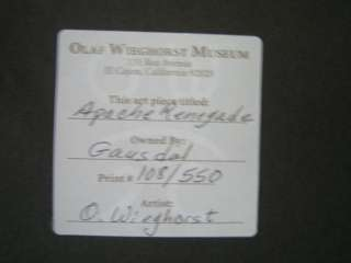 OLAF WIEGHORST Apache Renegade signed framed art 108