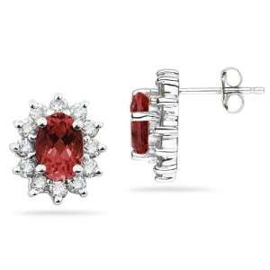 7X5mm Oval Shaped Garnet and Diamond Flower Earrings in
