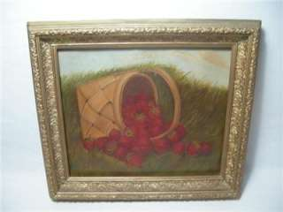 Antique American Folk Art Oil Painting Strawberry Basket 19th Century