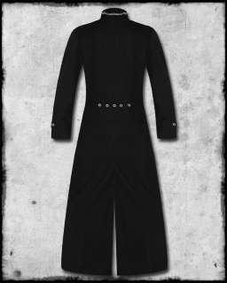 LONG BLACK GOTH BUCKLE STRAP METAL FULL LENGTH MENS TRENCH COAT JACKET
