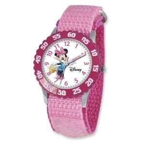 Disney Kids Minnie Mouse Pink Velcro Band Time Teacher Watch Jewelry
