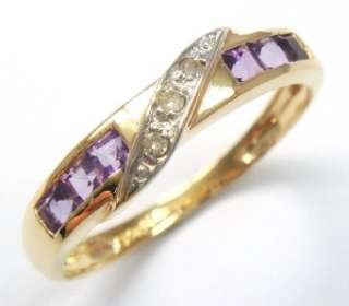 ELEGANT 10KT YELLOW GOLD AMETHYST & DIAMOND BAND RING