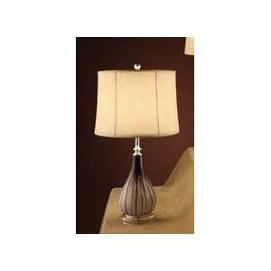 Elegant Table Lamp with Tan Color Shade and Tear Drop Base