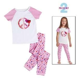 Avon Blast of Hearts Pj Pajama Set Girls Size 8 Pink Rose Baby