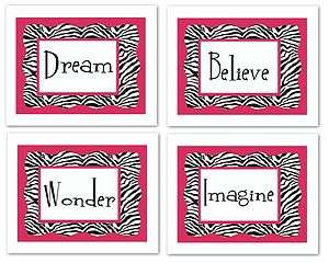 set 4 prints Hot pink and Zebra print nursery wall art