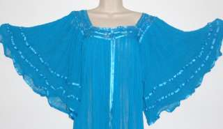 Hippie Gauze Crochet Dress Mexican Dress 60s Retro Aqua Angel Dress