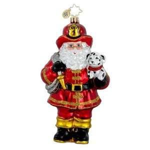 RADKO RED HOT NICK Santa Fireman Dalmatian Glass Christmas