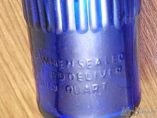 18 INCH GLASS QUART COBALT TIOLENE MOTOR OIL BOTTLE
